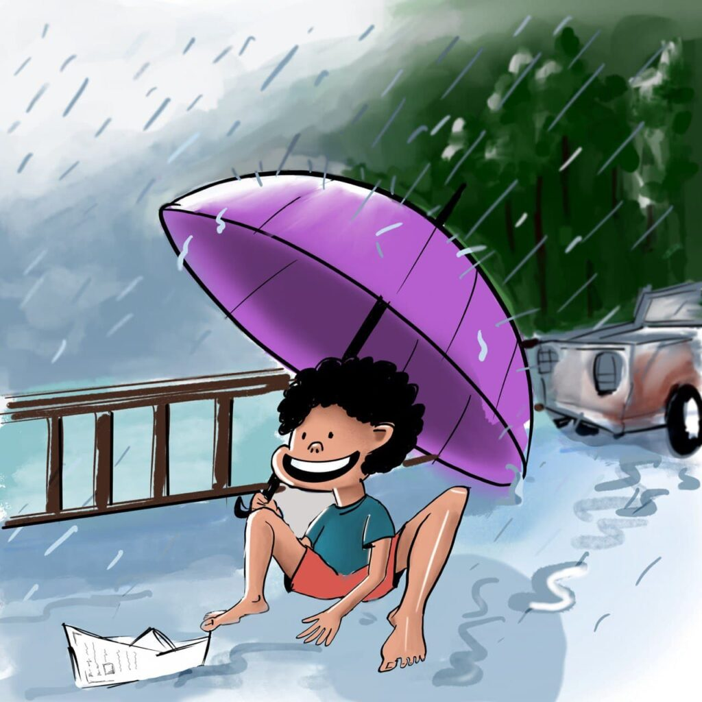 Kiku loves rain and playing with a paper boat in the rain, he makes a paper boat with newspaper