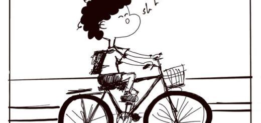 Bicycle ride funny puppy cartoon